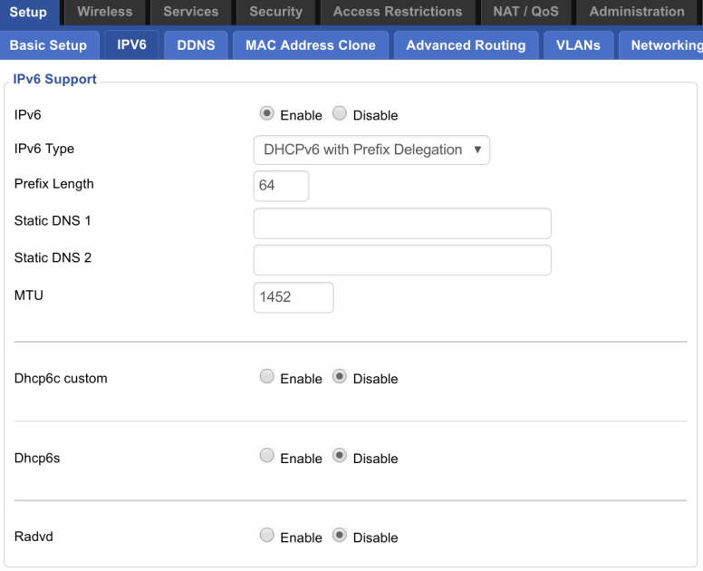 DD-WRT IPv6 Setup